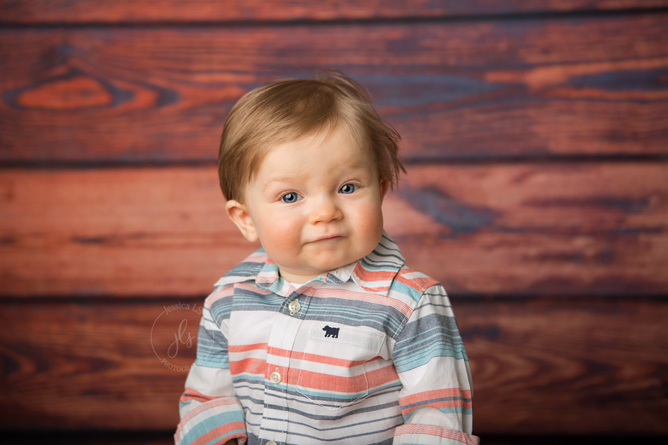 1 year old baby boy during First Birthday session