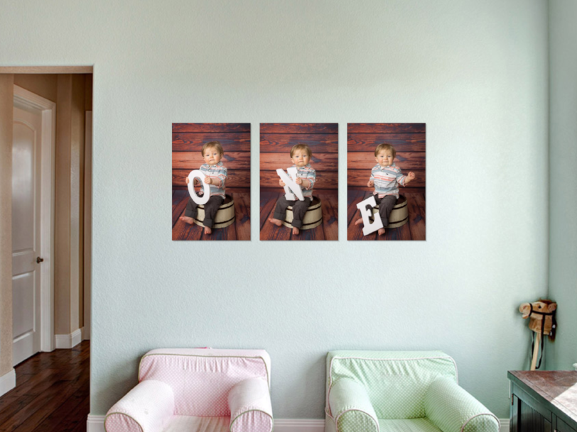 Baby's First Birthday Canvas wall art collection in living room