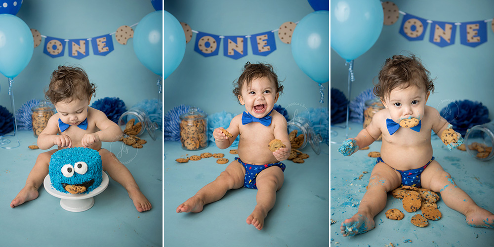 Cookie Monster First Birthday Cake Smash Fun