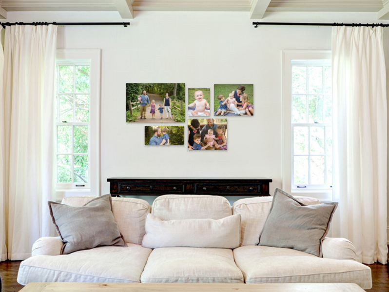 Canvas gallery in family room portraits by Jessica LS Photography
