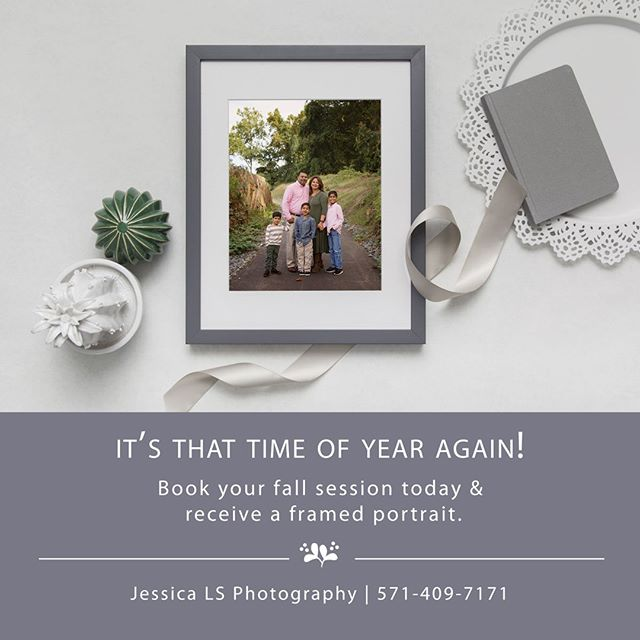 Guess what time of year in coming?!⁠ 🍂🍁⁠ This year, I'm including a frame portrait with every package!  Packages starting at $195.⁠ 🍁🍂⁠ Inquire today and scheduled your limited fall mini session today!⁠ #familyfirst #fallsession #capturethefallcolor #frameportait #familyphotographer #fallfamilyportait #woodbridgephotographer #woodbridge #lorton #occoquan #lakeridge #letthembelittle #jessicalsphtogoraphy
