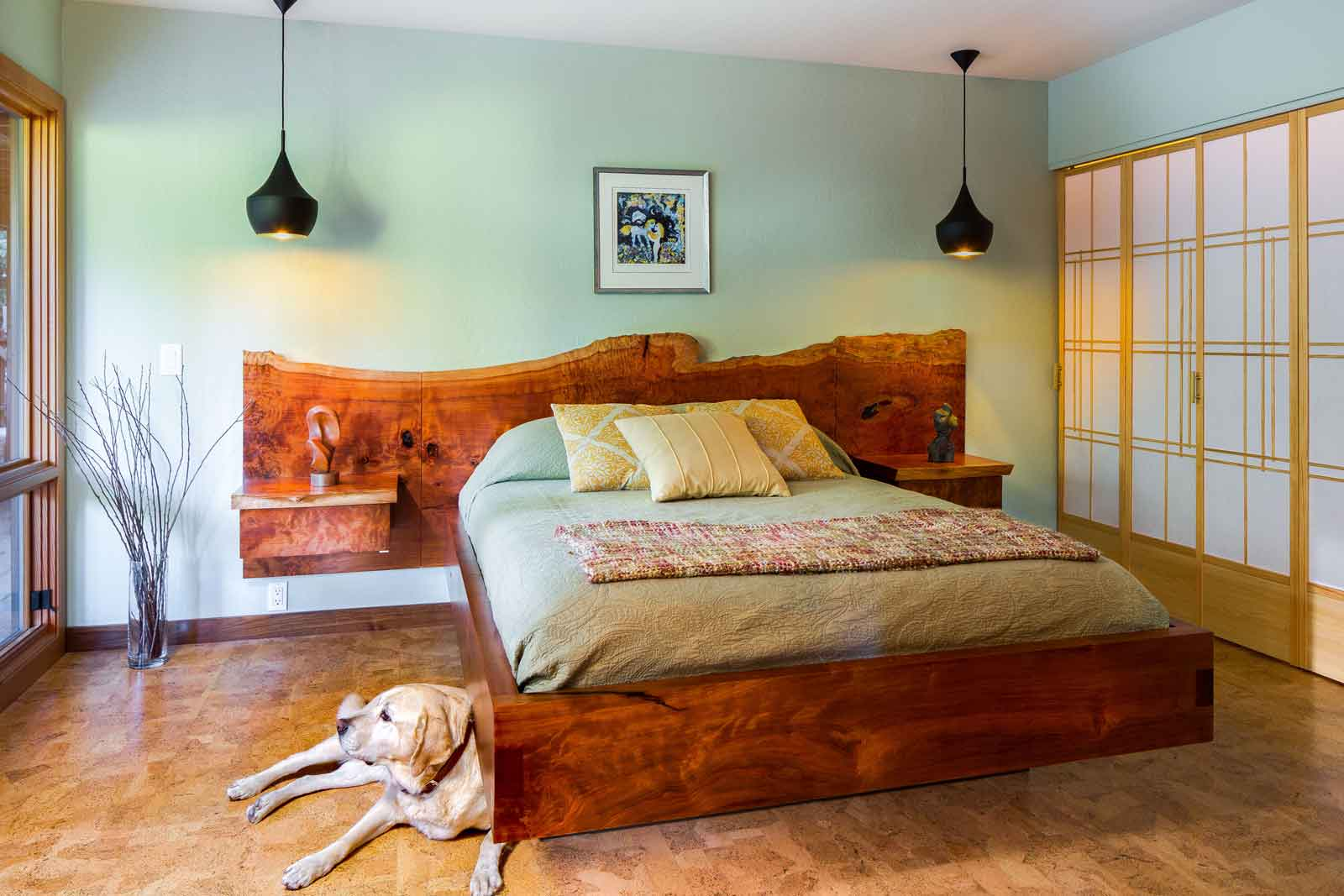 Custom Redwood Platform Bed