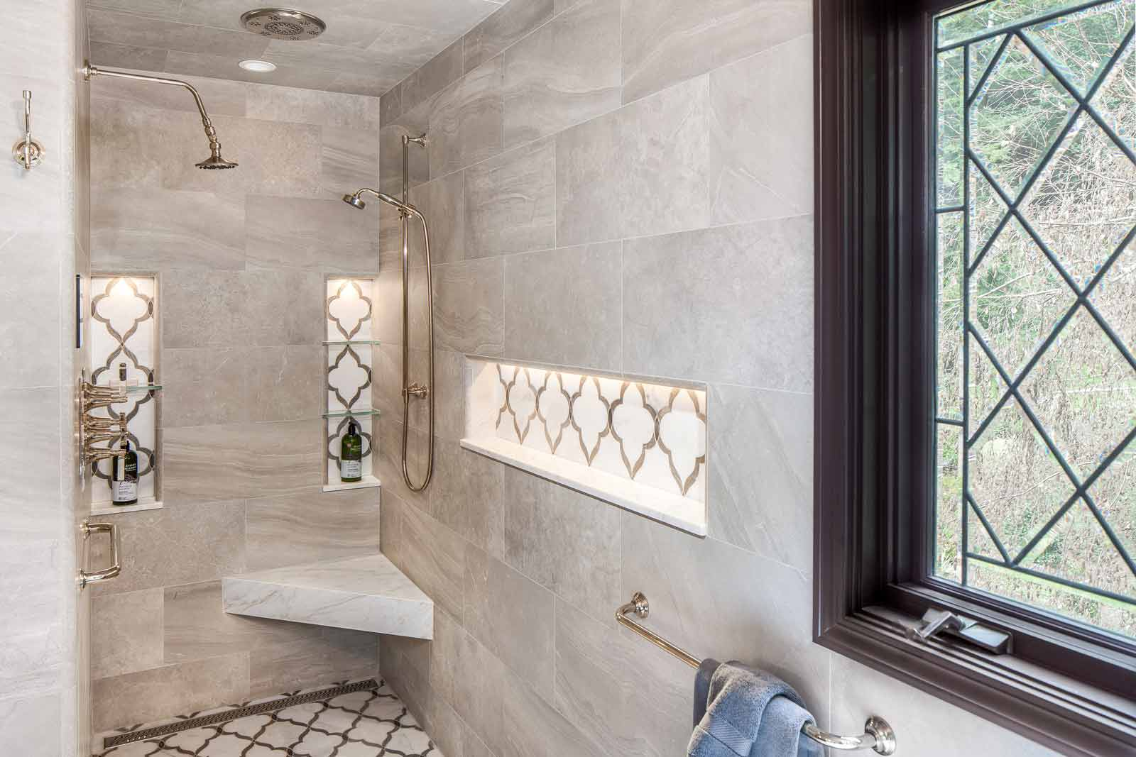 Master Shower with Lighted Niches
