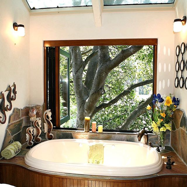 Throwback Thursday.  Who wants to bathe here?  Just don't drink too much. 😜 This project is probably 15 years old - I still love seeing it!! #treehouse #santacruzdesigner #bathroomsofinstagram #luxuryliving #luxurydesign