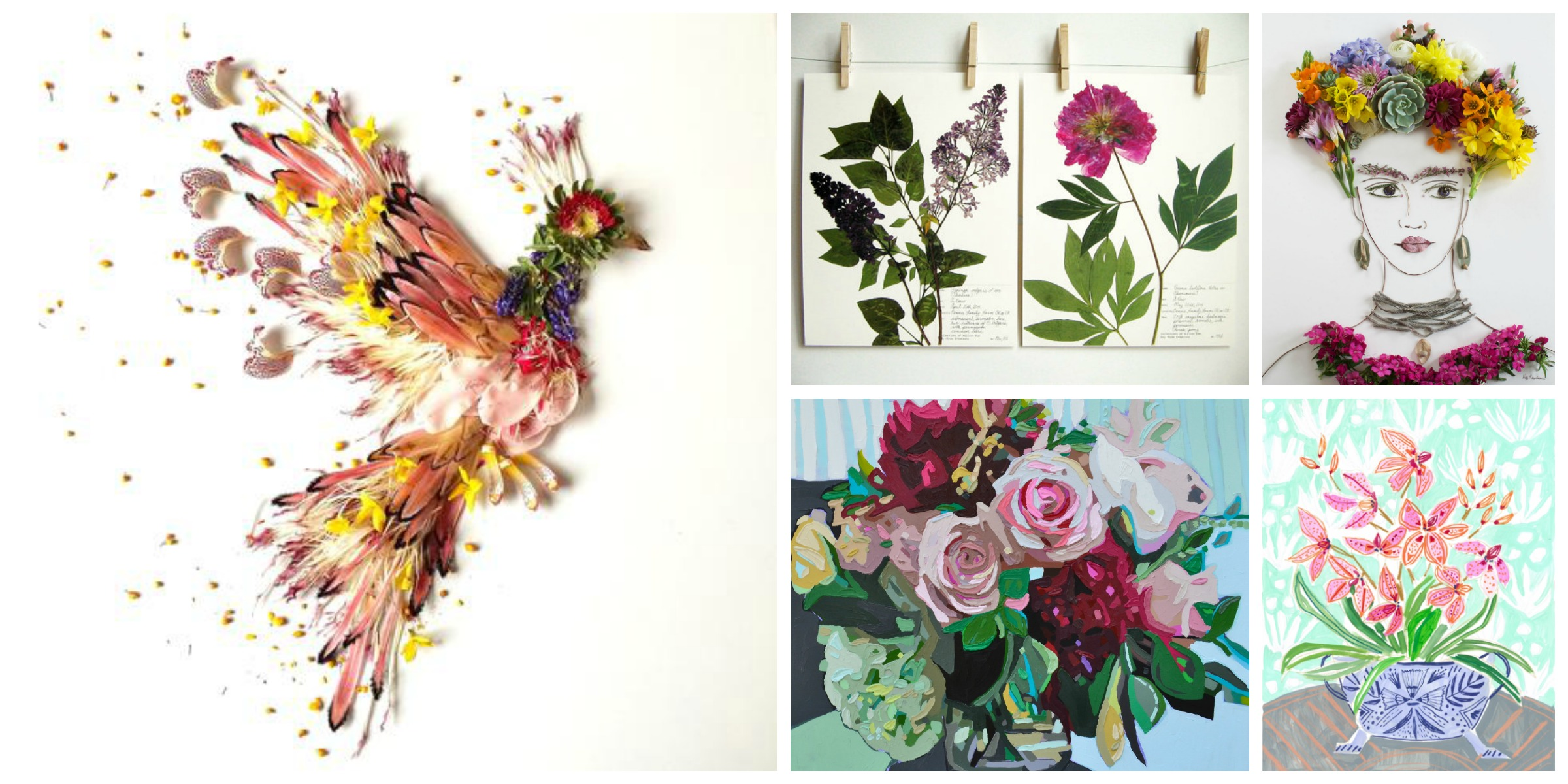Firebird Print by  Flora Forager // Lilac and Peony Print by  Day Three Creations // Spring Frida Flower Face Print by  Sister Golden // Branches Print by  Kate Mullin // Flowers for Laura Print by  Lulie Wallace