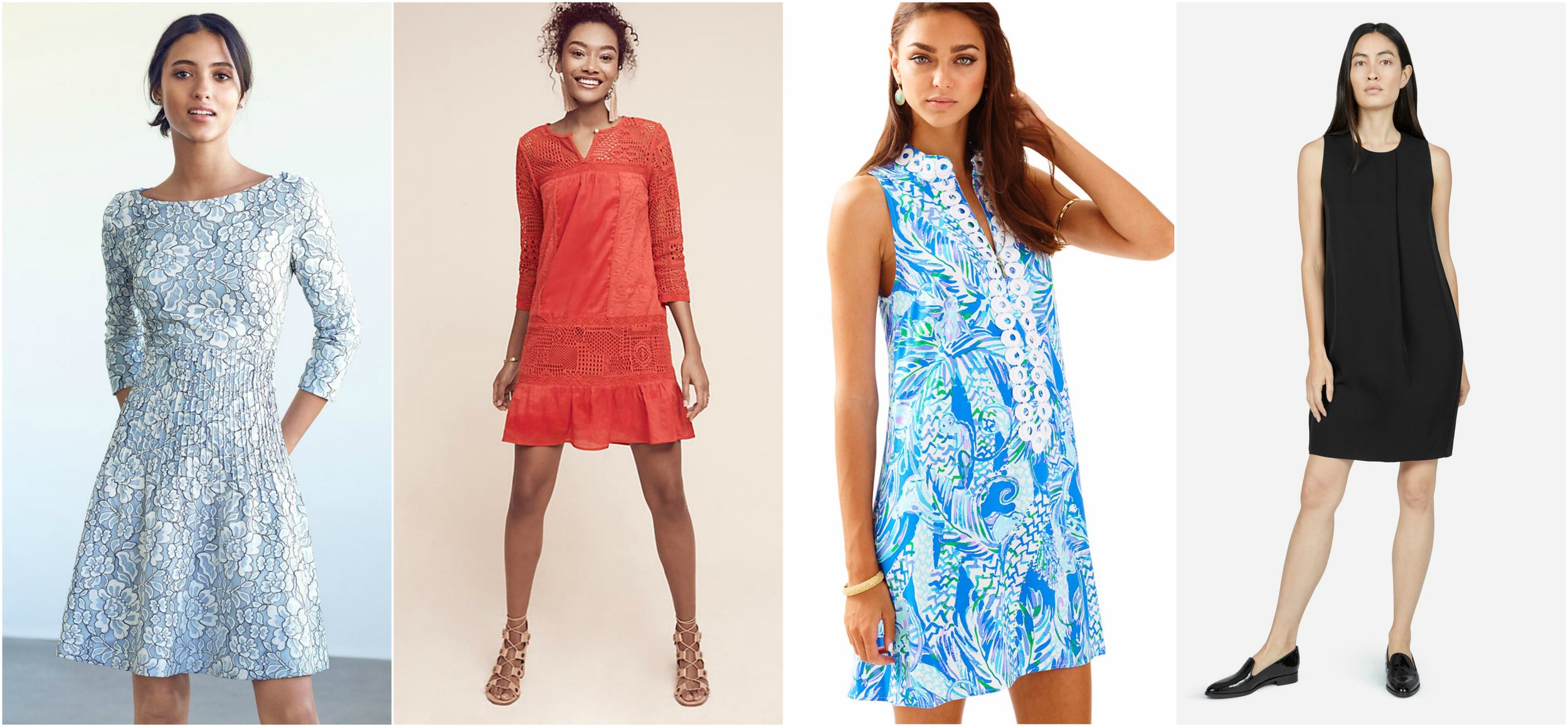 Dresses via  Nordstrom ,  Anthropologie ,  Lilly Pulitzer , and  Everlane