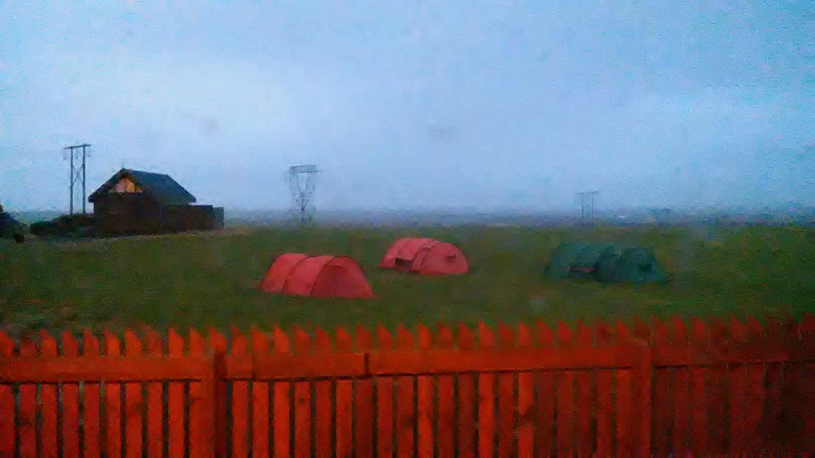 After a stormy night the tents are still where they should be at dawn
