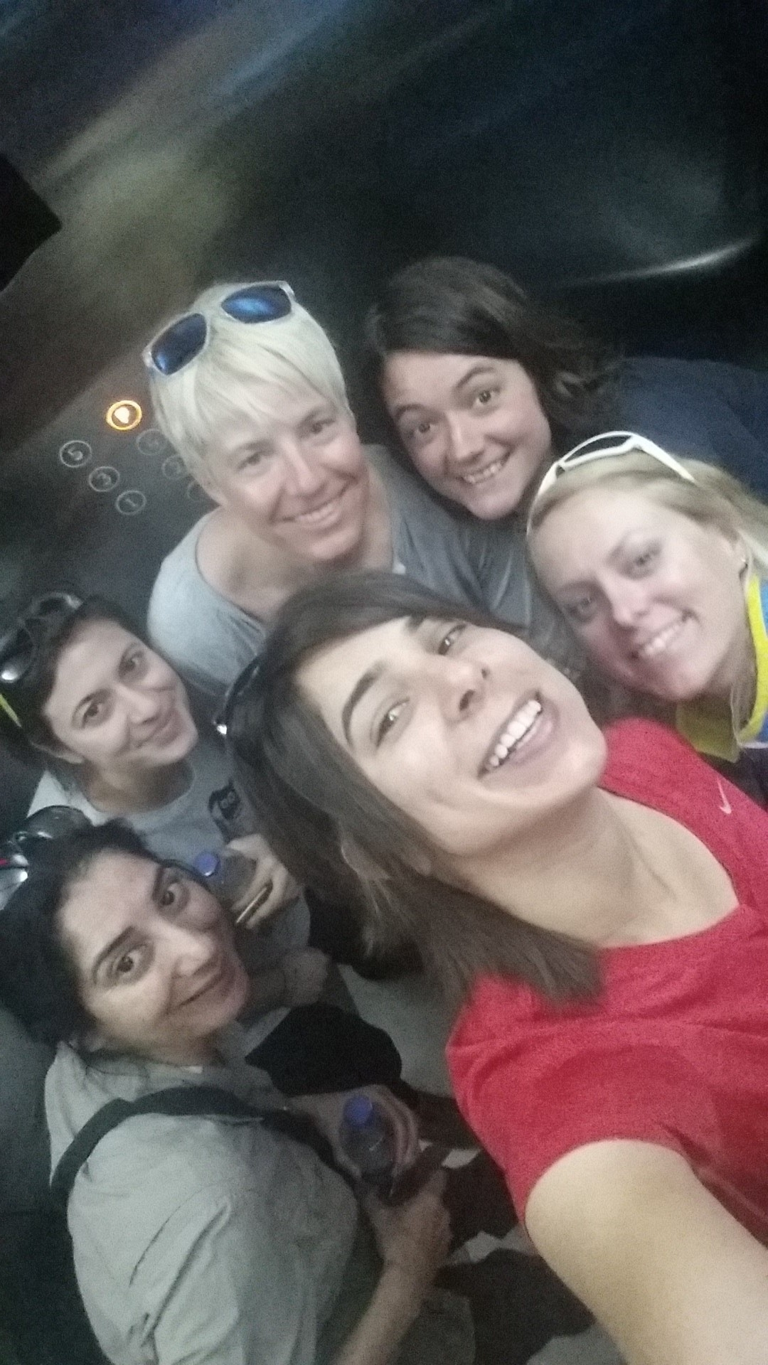 Partial team reunion in the lift of a Muscat Hotel (Misba UK, Steph Cyprus, Natasa Slovenia, Susan France, Ida Sweden and Lamees Kuwait).