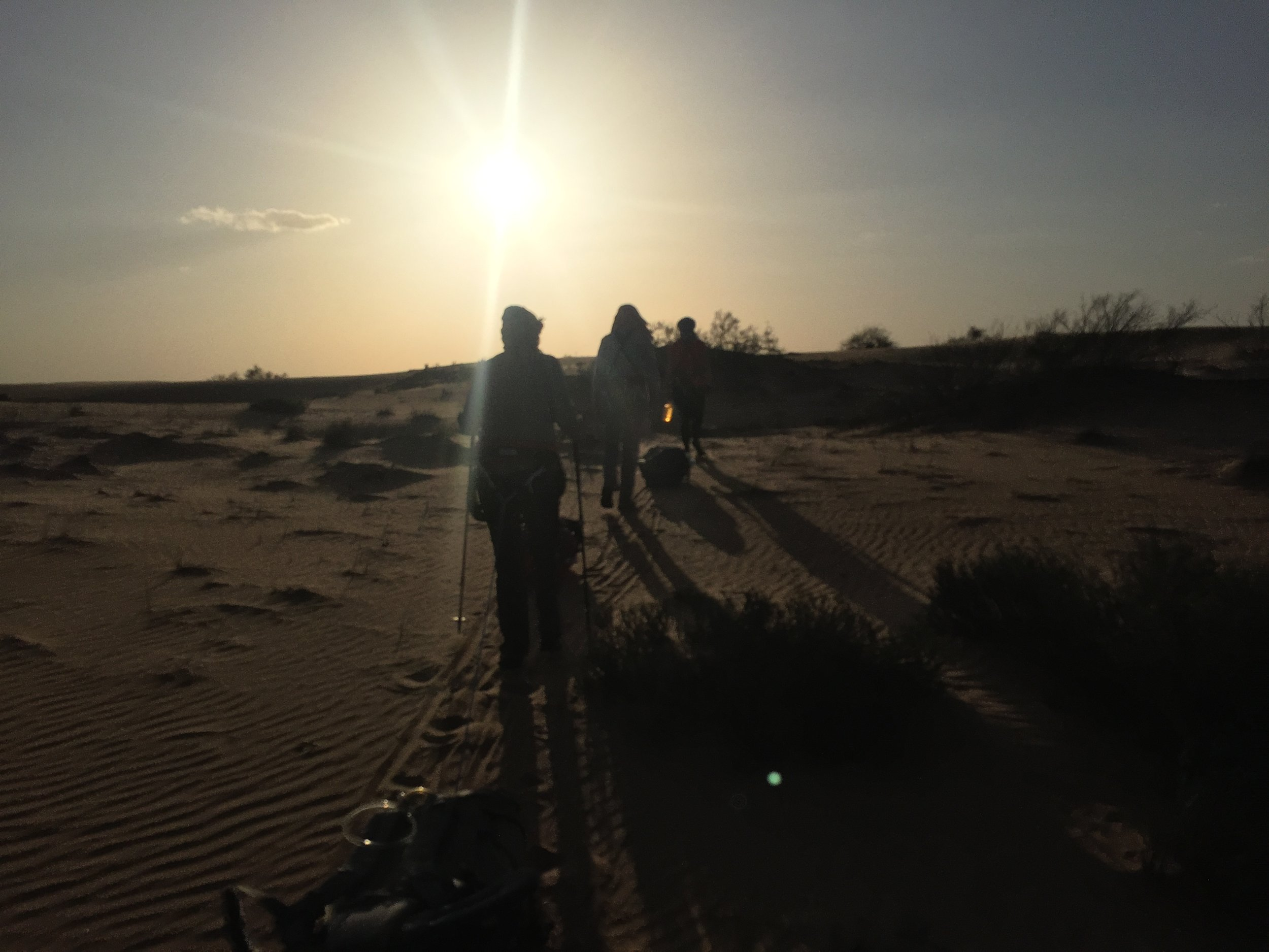 The first day taught us that travelling early and late was the only way to cope with the desert heat!