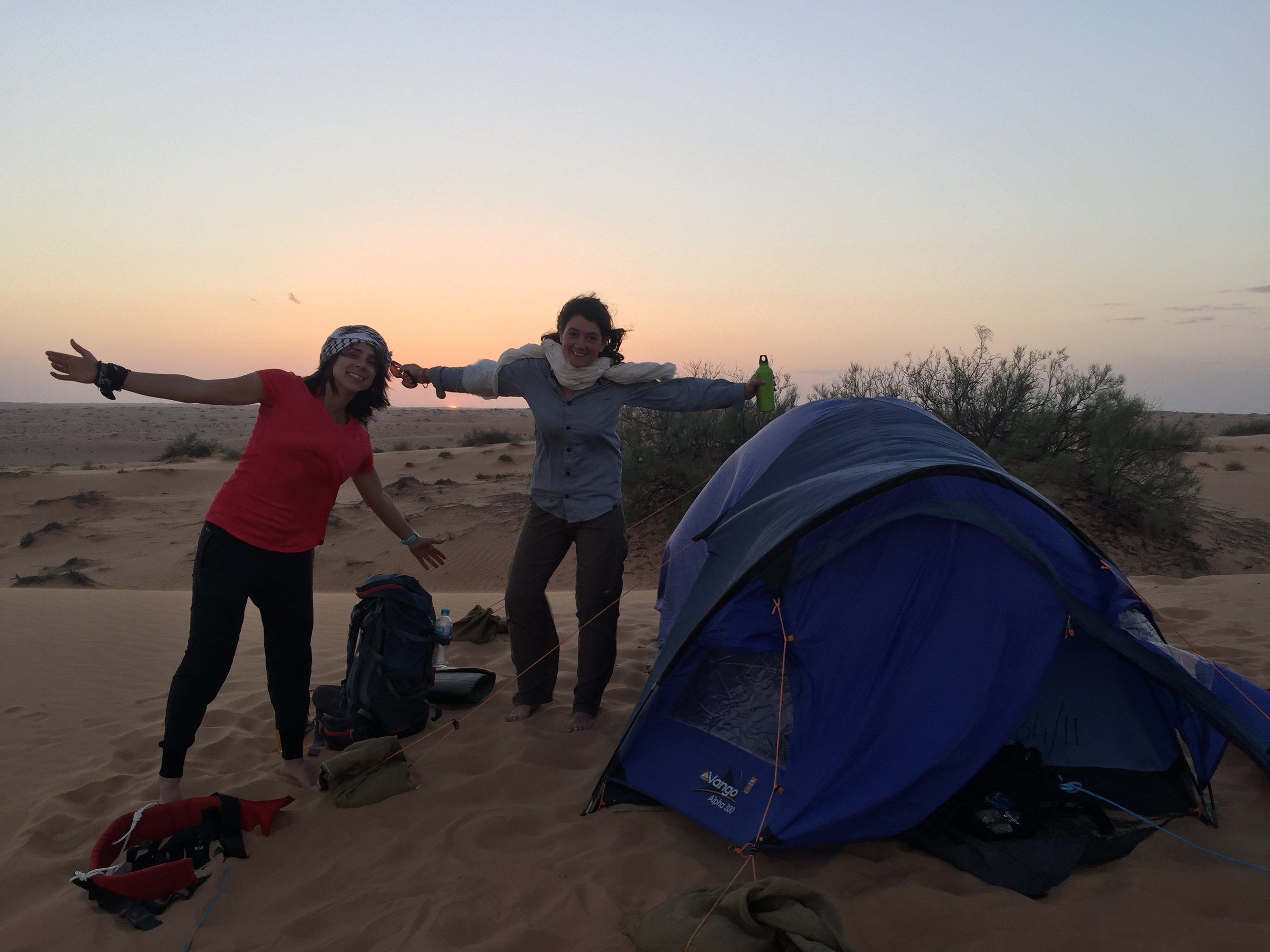 Lamees (Kuwait) and Susan (France) celebrating a glorious end to a tough first day.