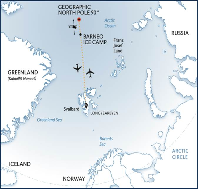 The team will fly from Longyearbyen in Svalbard (part of Norway) to a runway prepared on the ice of the Arctic Ocean where there is a floating ice camp called 'Barneo'. The expedition will begin at a position 89N from where the team will ski towards the North Pole. On arrival at the top of the world, the team will return to Barneo by helicopter before flying back to Longyearbyen.