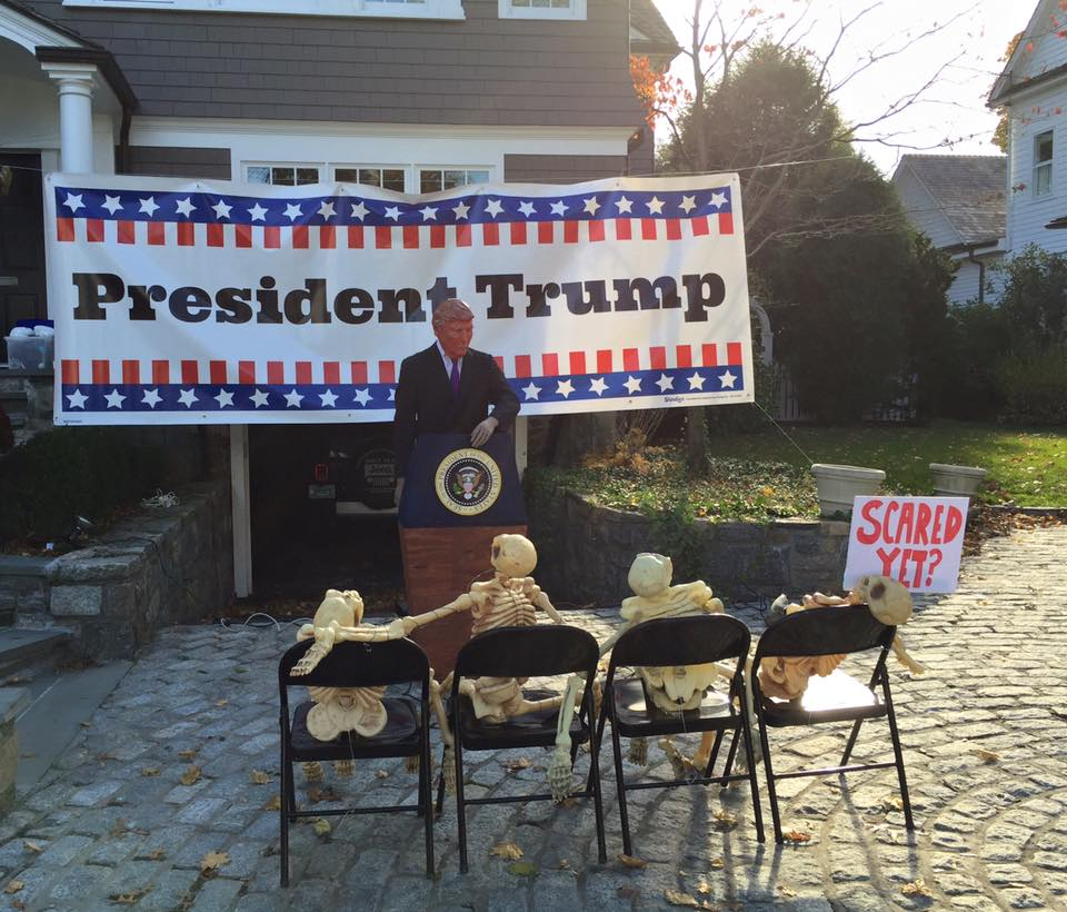 Recently staying with friends in Connecticut, running workshops at the Arts in Health Conference in Brooklyn, I was struck by the extravaganzas of Halloween .This photo shows a Halloween display outside the house of their neighbours