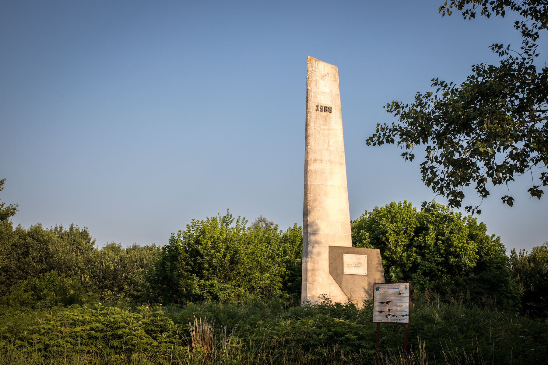 The Monument to Hadzhi Dimitâr and Stefan Karadzha, near the village of Basarbovo, marks the place where their detachment crossed the Danube in 1868.