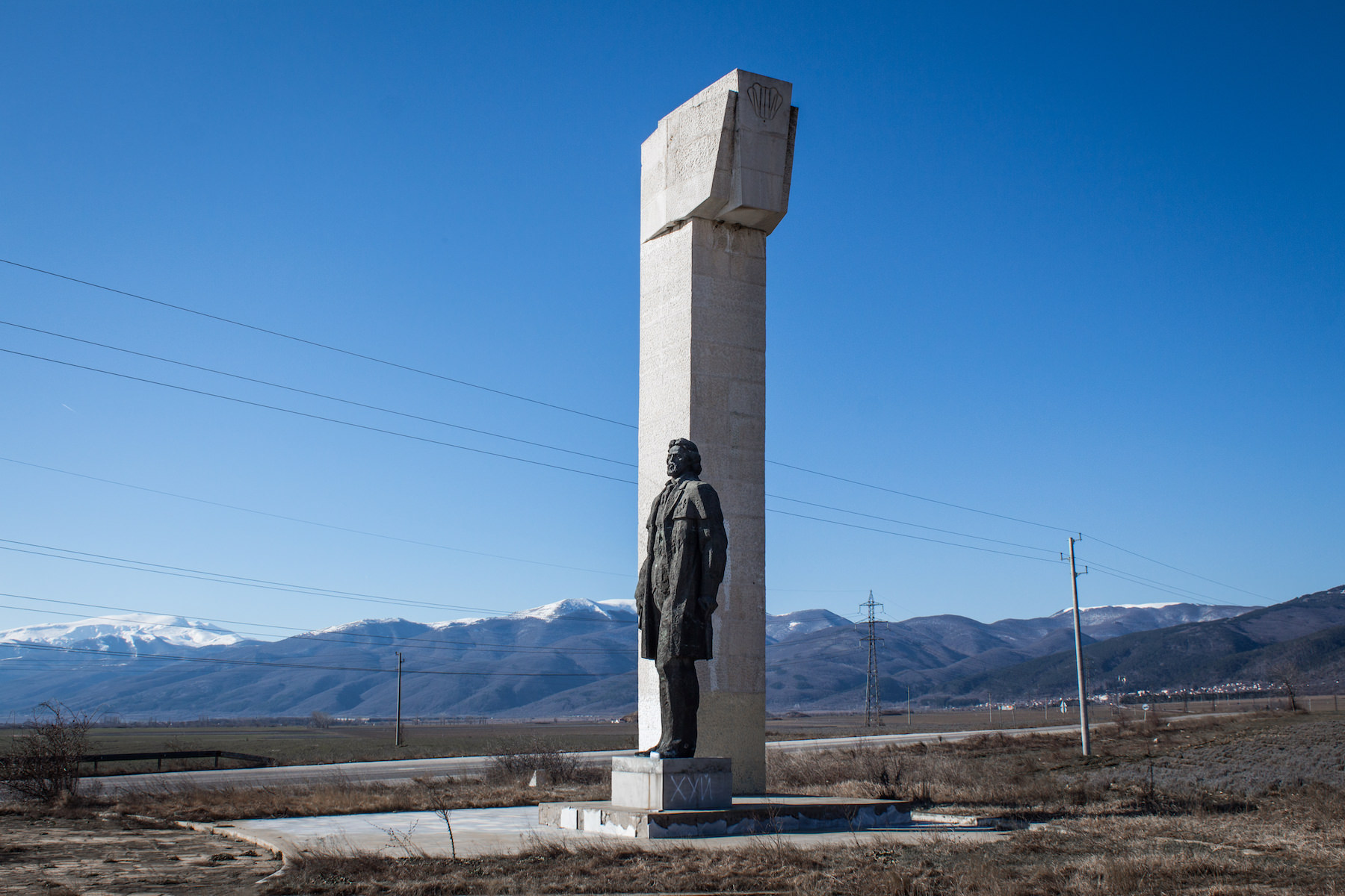 Monument to Dimitâr Blagoev, at the turning on the road to Buzludzha Peak.