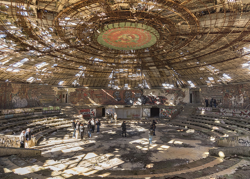 Representatives from Europa Nostra meet with the Bulgarian press in the Buzludzha Monument. September, 2018.