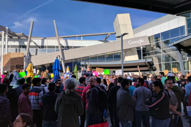 Protest at Google headquarters in Mountain View