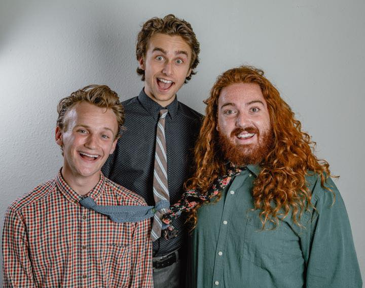 Business Casual  Fresh off the grill, Oscar-winning comedy group Business Casual is here! These boys are coming in hot, so hot, oh my god it's so hot. Cory Peter Lane, fresh out of the oven is the lead man – the big strong redhead boy or whatever. The other two guys are called Hunter and Jeremy. Hunter Saling and Jeremy Elder. And also Cory.