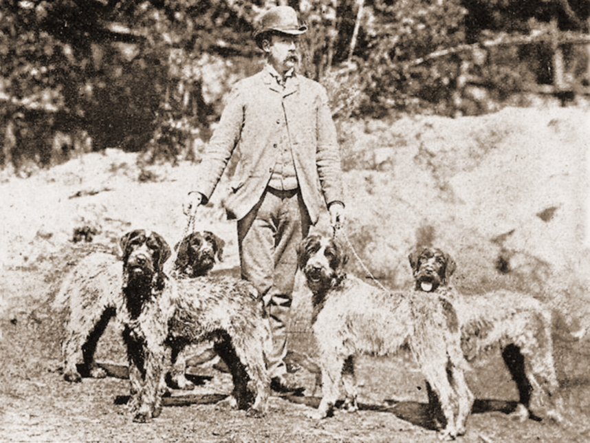 Eduard Korthals with four of his Griffons.