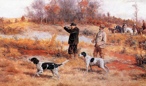 Painting of an early American field trial by John Martin Tracy. In the early days, birds (usually quail) were shot by the handler (or a gunner) in American field trials and Setters (but not Pointers) were expected to retrieve. Image courtesy of  Strideaway .