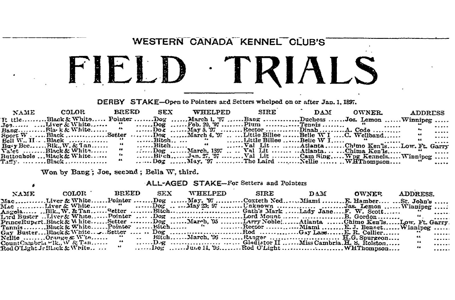 The results of the Western Canada Kennel Club's field trial held in southern Manitoba the September 6th, 1898 edition of the Morning Telegram newspaper.