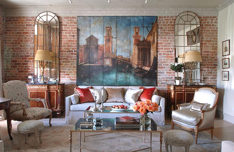 New Orleans designer Lynne Uhalt designed this fabulous warehouse condo featuring a pair of audubon cocktail Tables  Dec.ember 2016 issue of House Beautiful