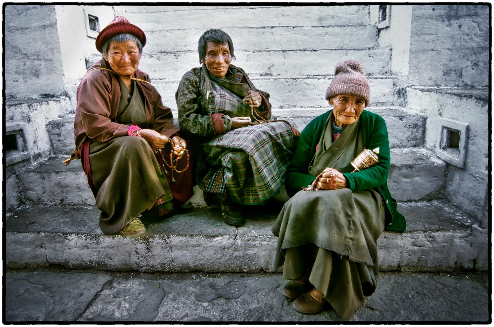 Women at a Prayer Stupa, Bhutan