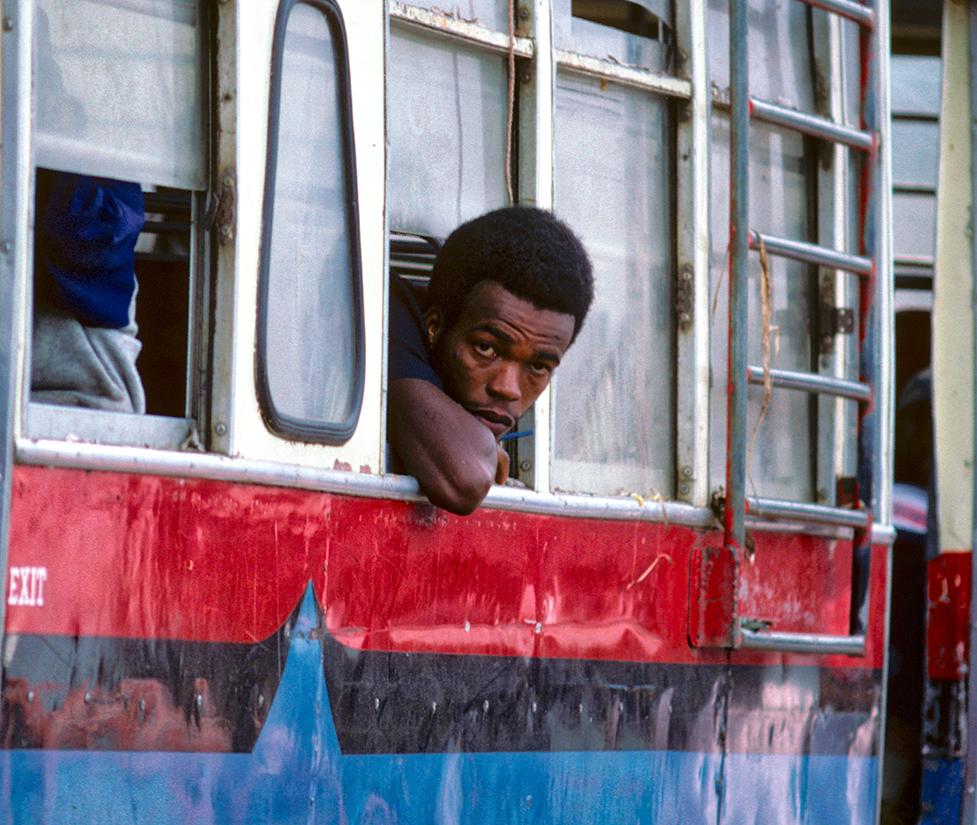 Bus rider, Montego Bay, Jamaica