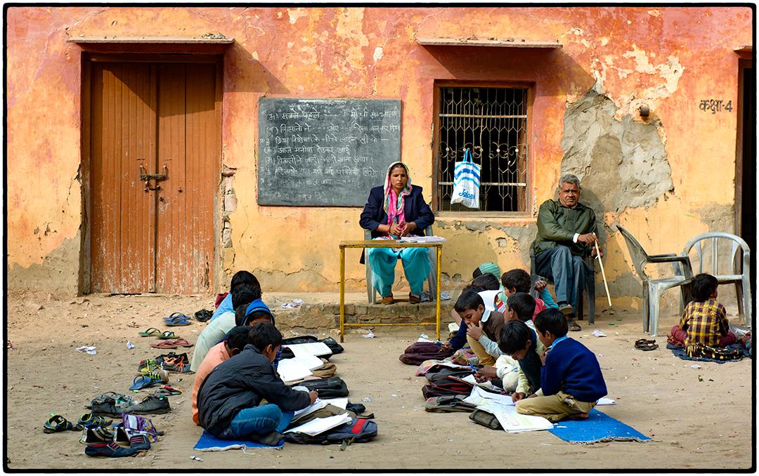 Teacher and class, India