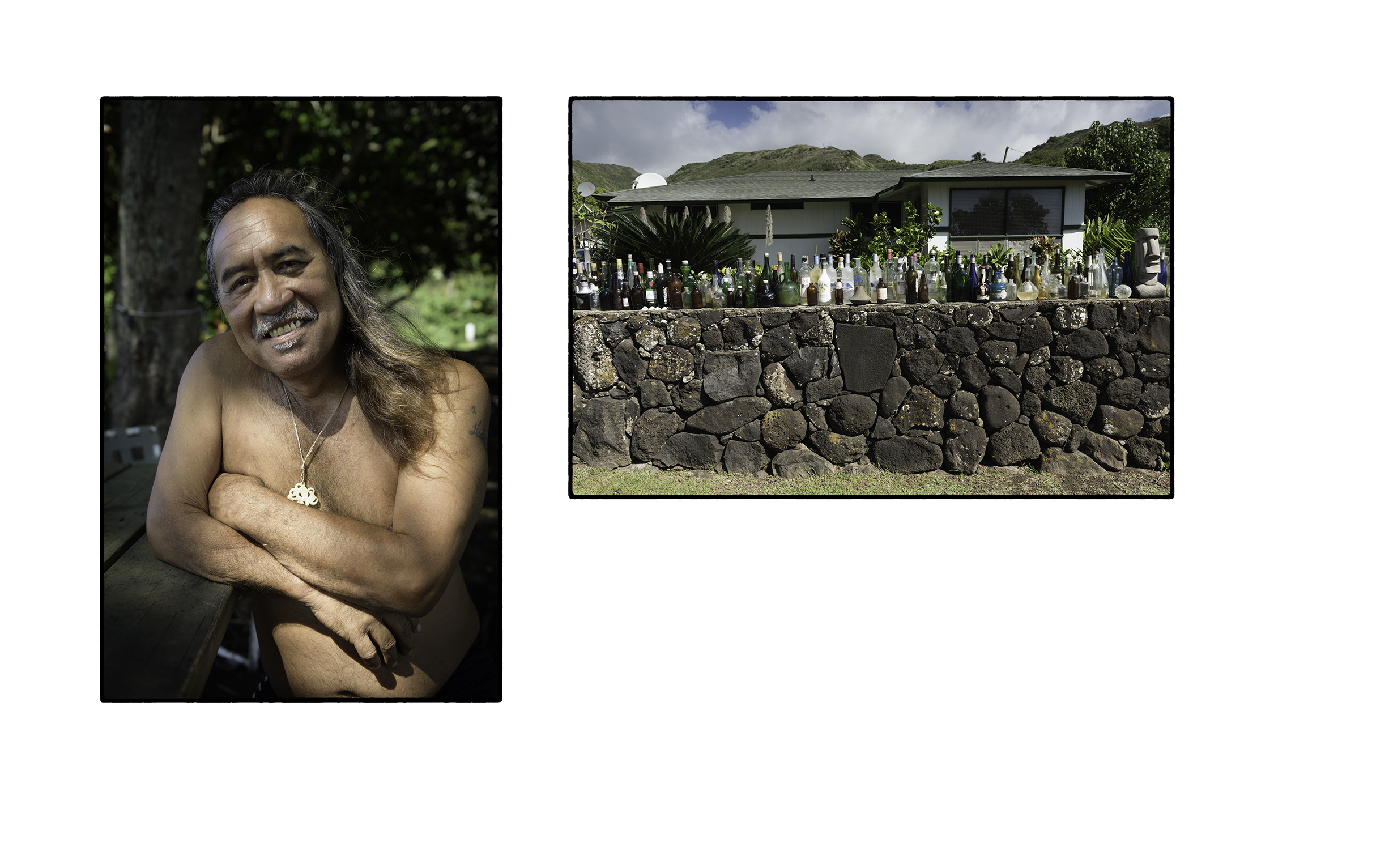 Keolo's father, Eddie Tanaka, and their home
