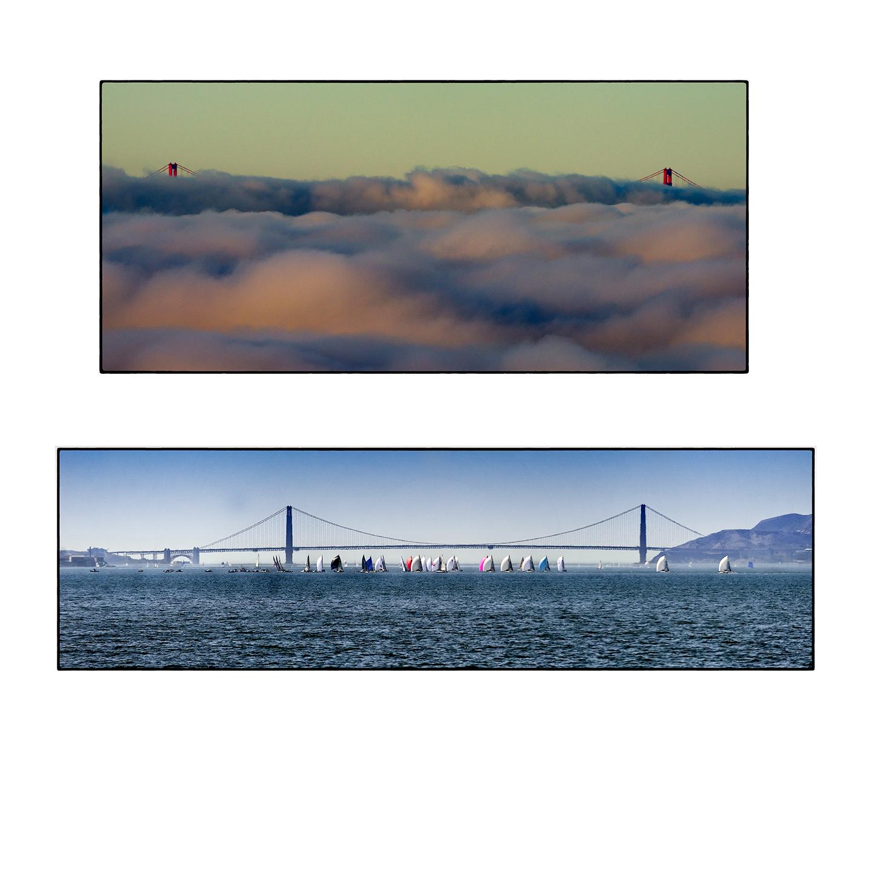 Sunrise, Fog.  Sailboats