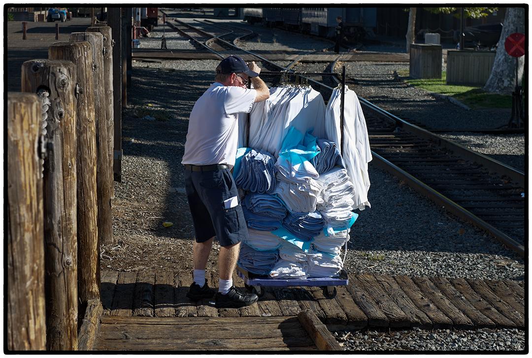 Removing Laundry from the Delta King, Sacramento, CA