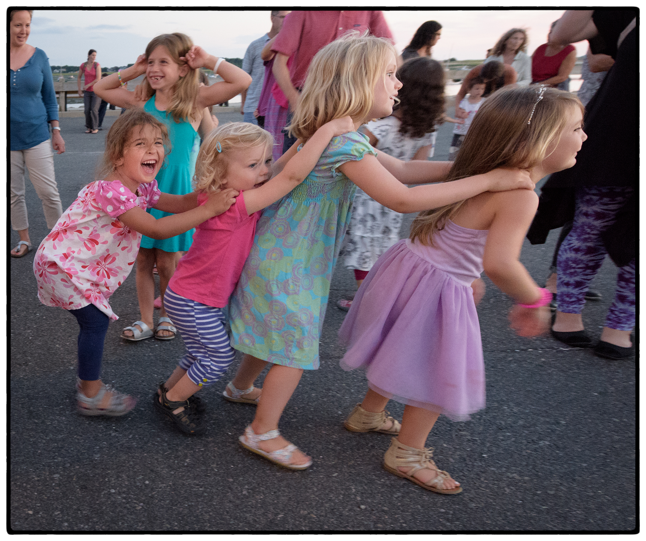 Wednesday night dance at the harbor.  The bunny hop.