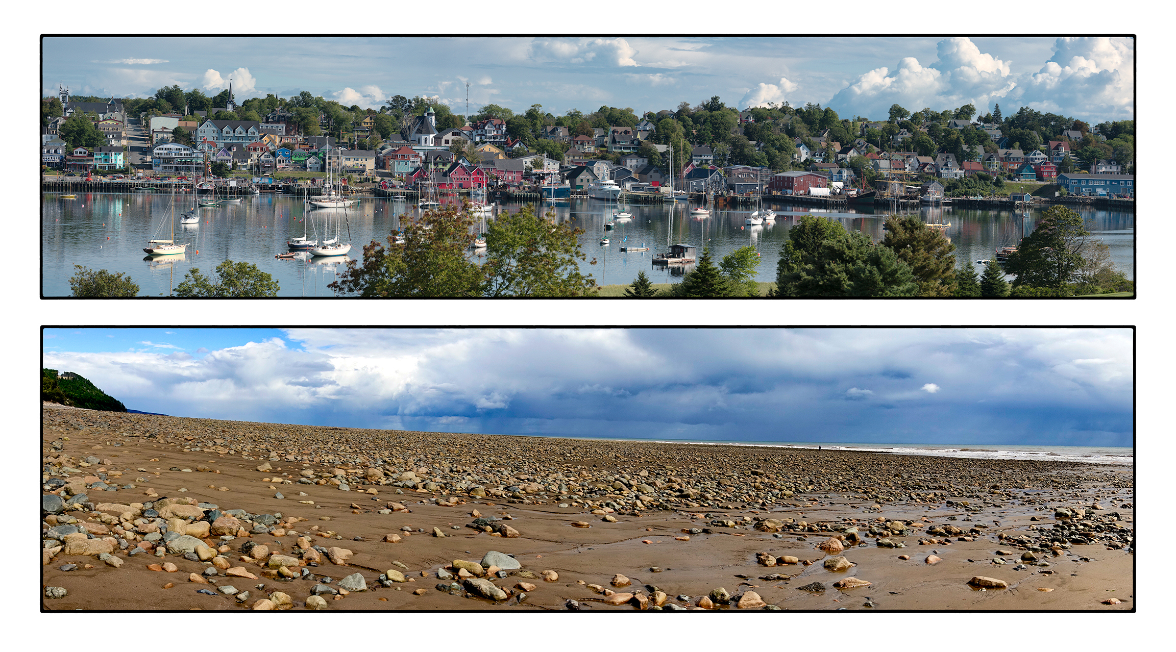 Two panoramas;  Top:  Lunenburg harbor  Bottom:  low tide at the Bay of Fundy