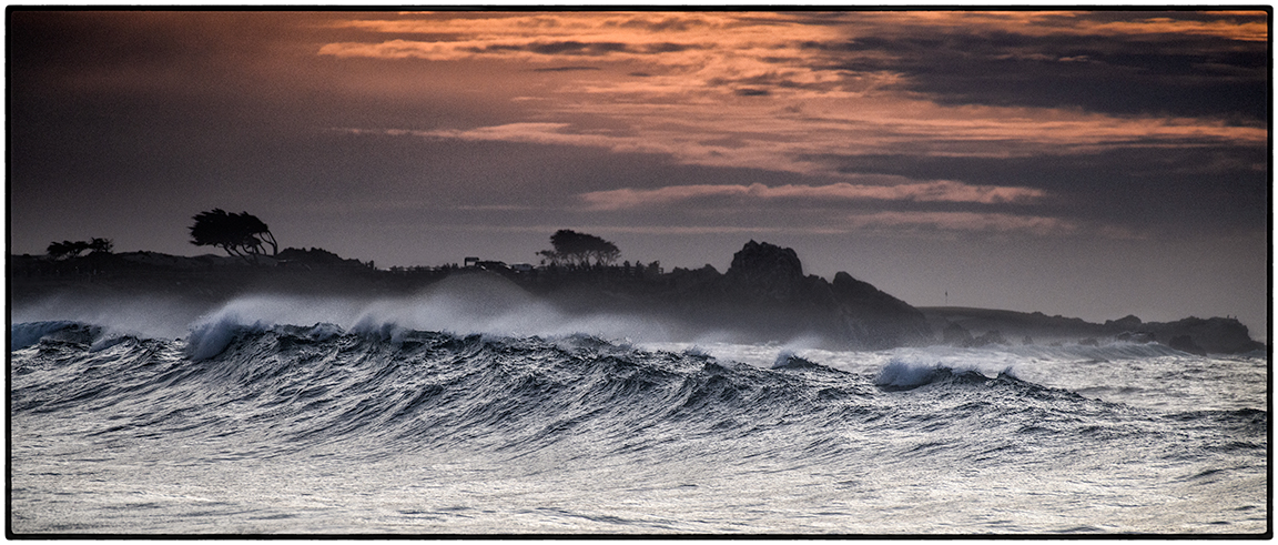 Sunset, Big Waves, Asilomar Beach