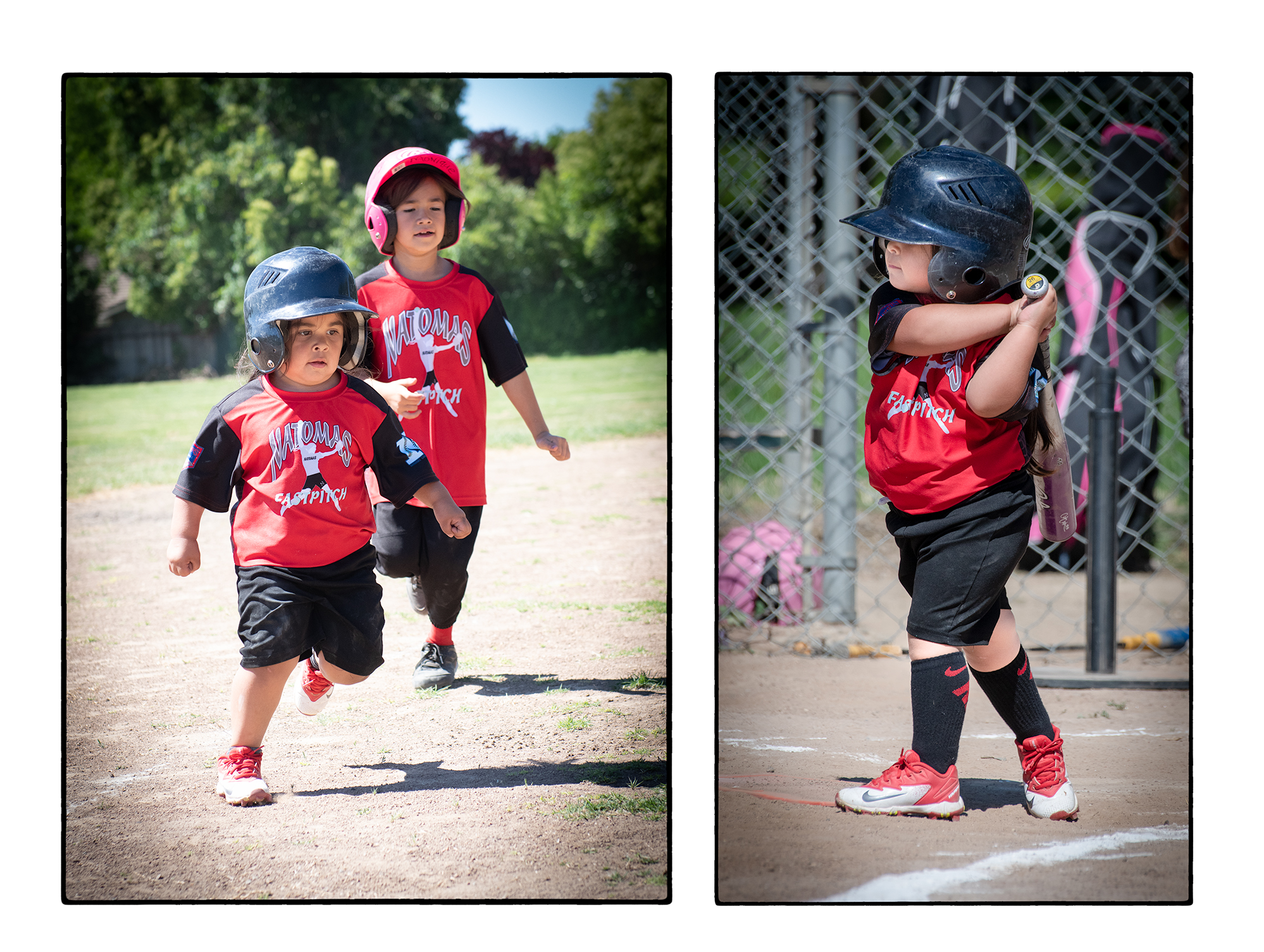Pitcher for the Ladybugs On Base and At Bat