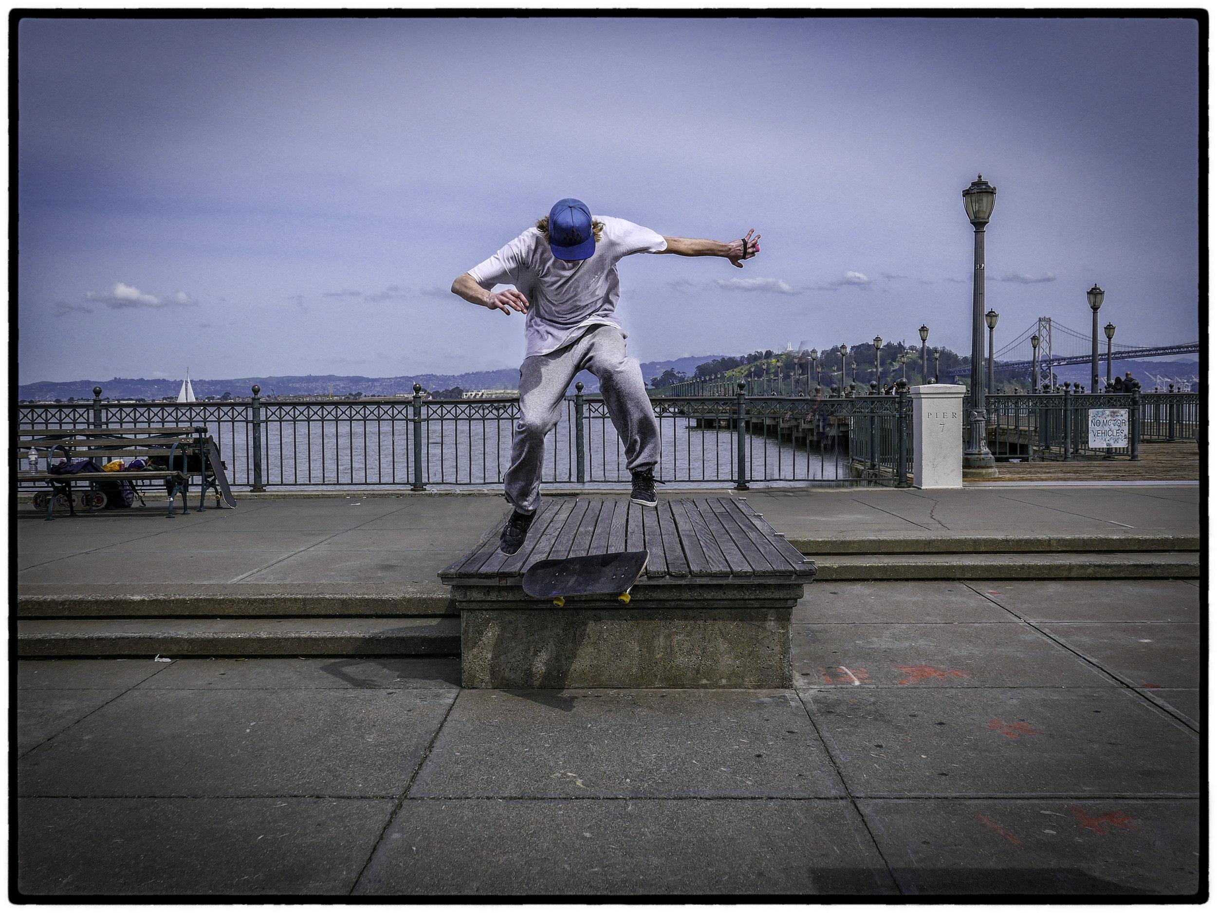 Skateboarder, Embarcadero, SF 4/19