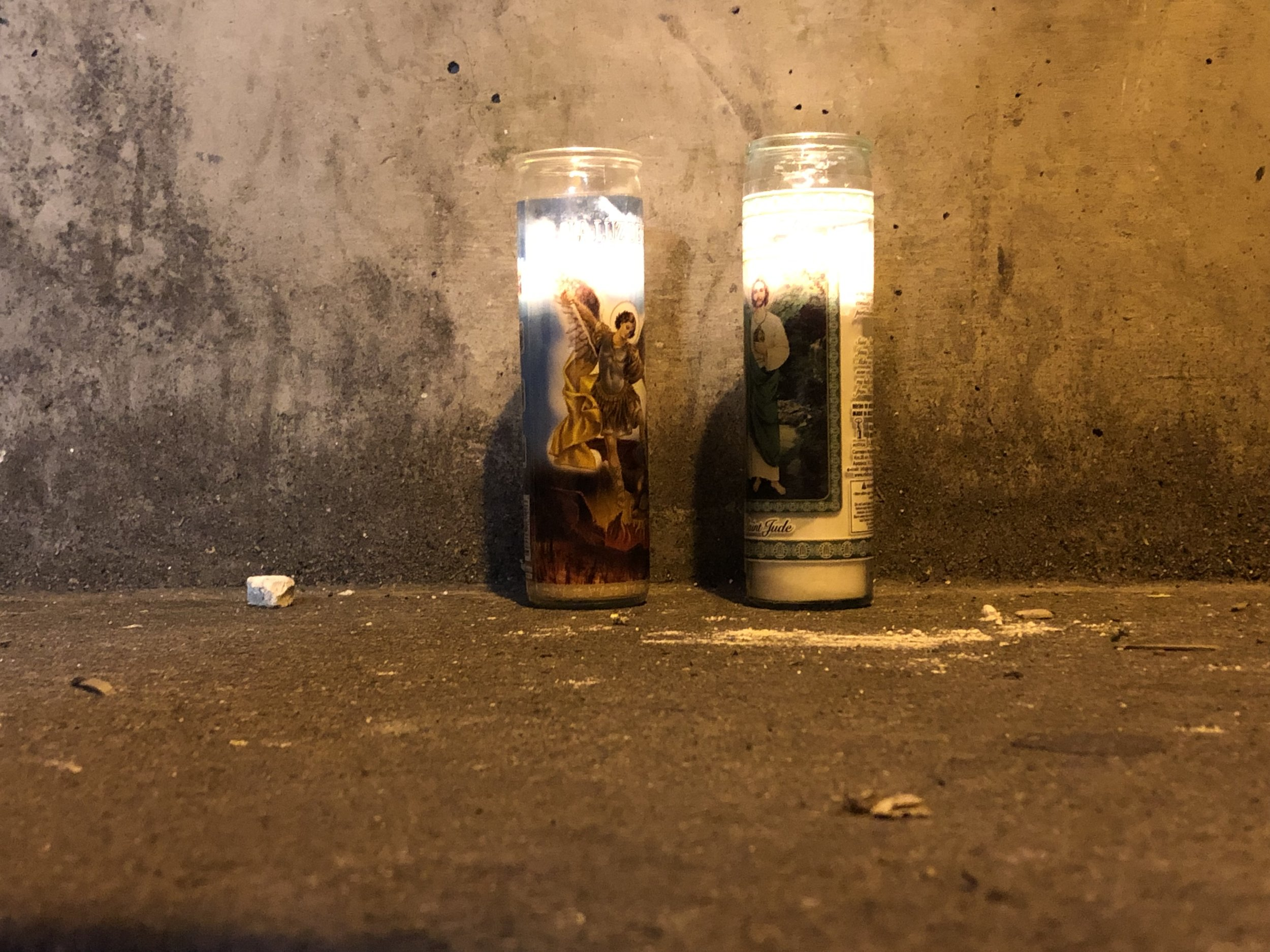 6 am Candles Left Outside the Shelter