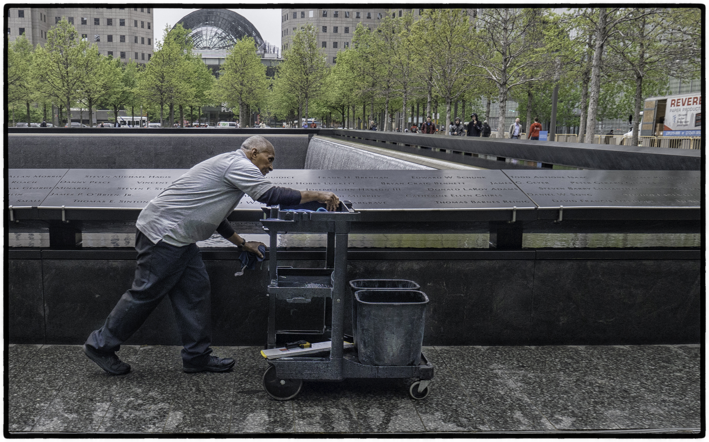 Cleaning the Fountain at 9/11