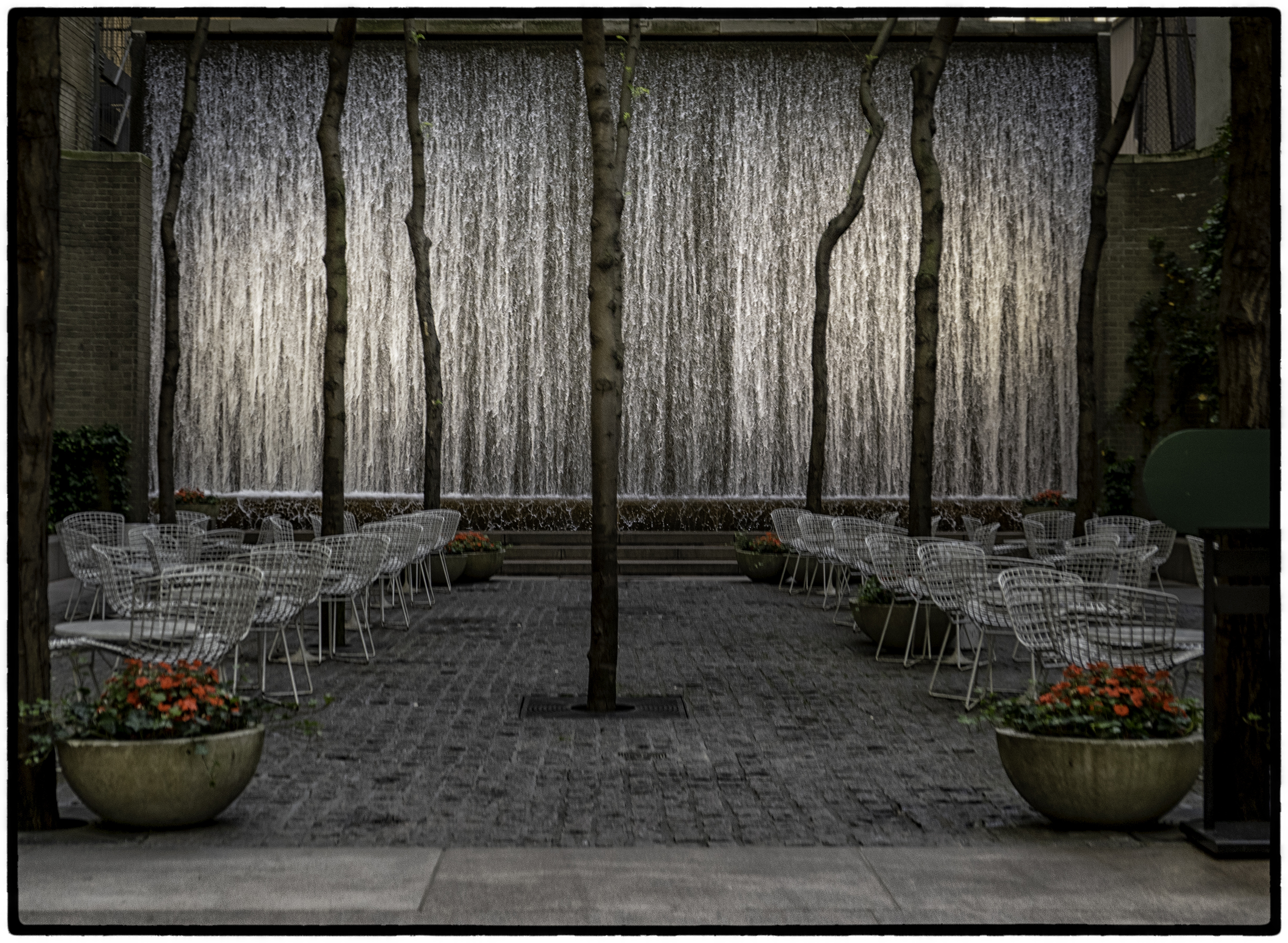 Restaurant and Waterfall, New York