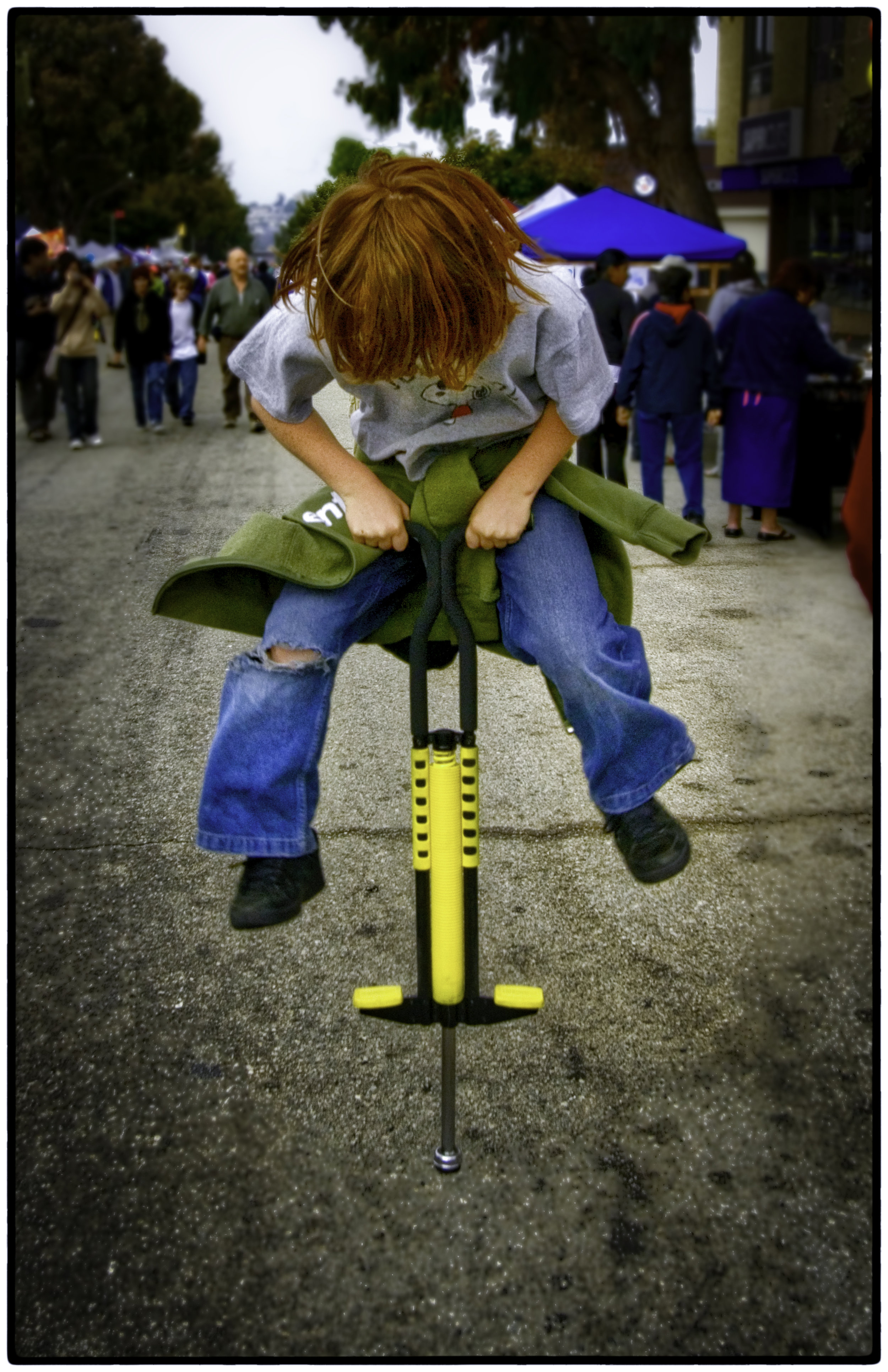 For me the fun is the people. Here's a kid on a pogo stick.