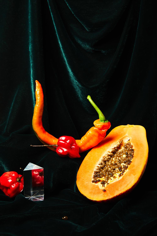 papaya and peppers still life