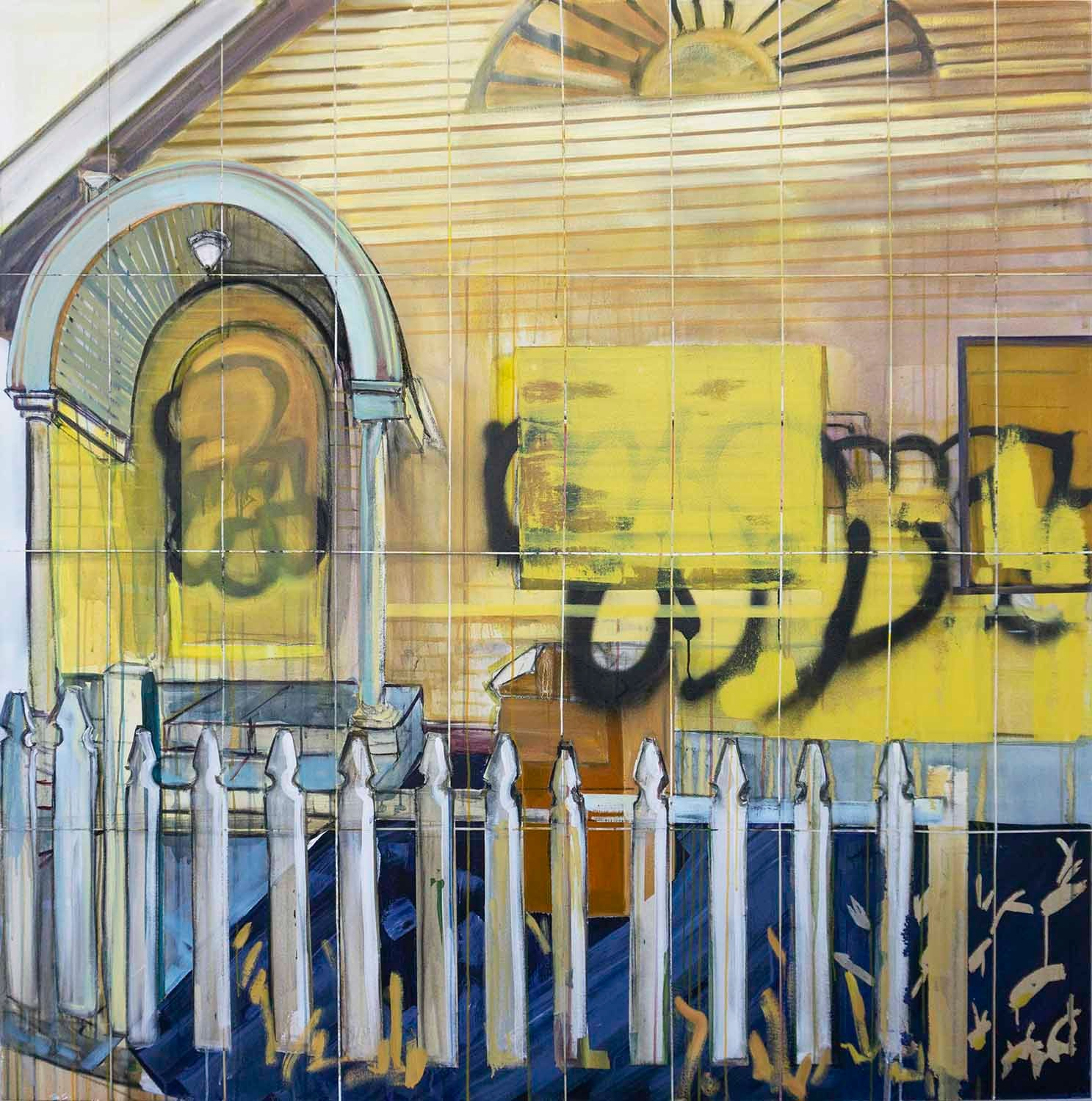 Yellow House (Potential 40 Units) , acrylic, oil and spray paint on canvas, 72x72 inches, 2019.