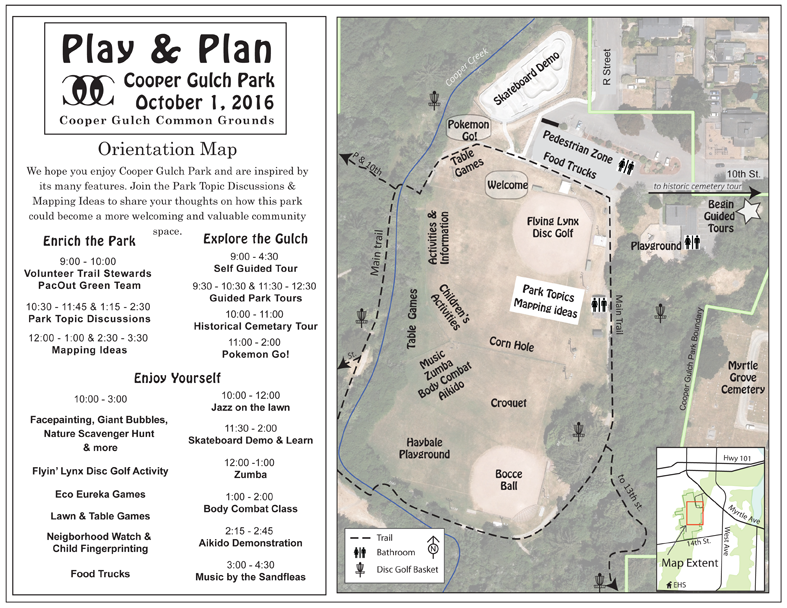 Up close and personal perspective of Cooper Gulch Park and the many fun activities happening at Play & Plan Day.