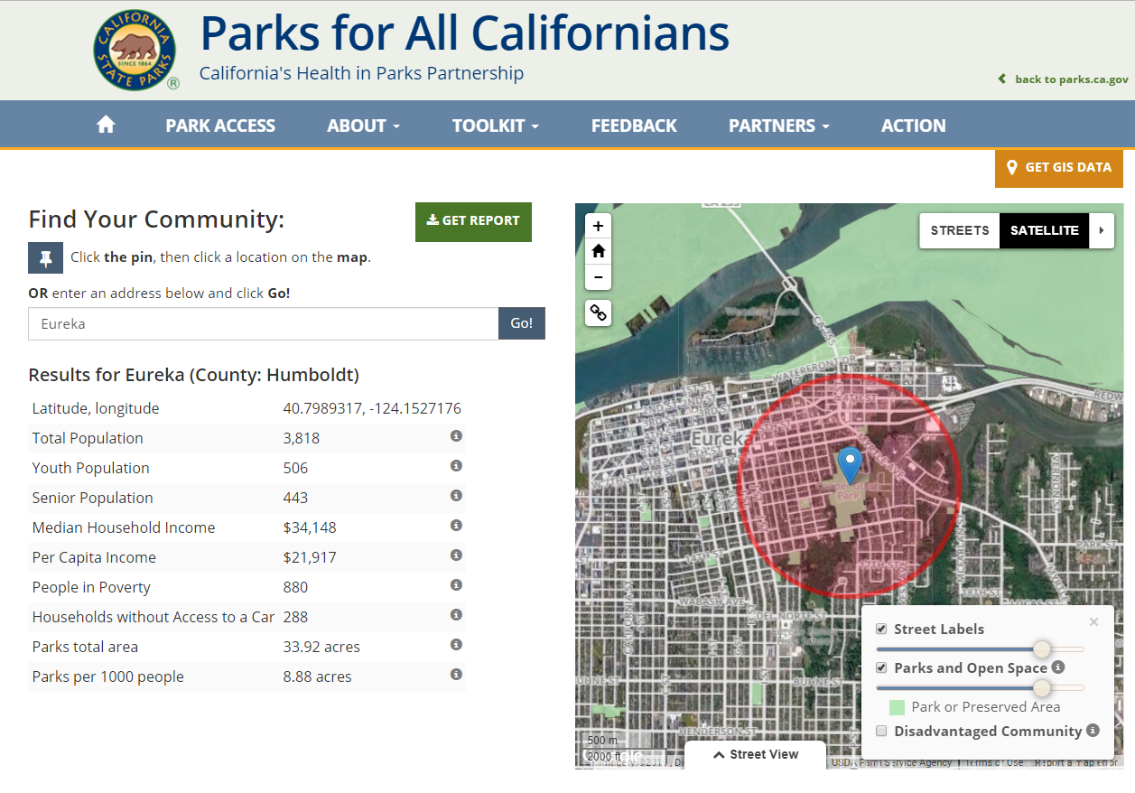 Figure A. Proposition 68 Parks Revitalization - State web tool for determining factors in grant - Screen shot of Cooper Gulch Results for Parks/1000 people; MHI; People in Poverty.