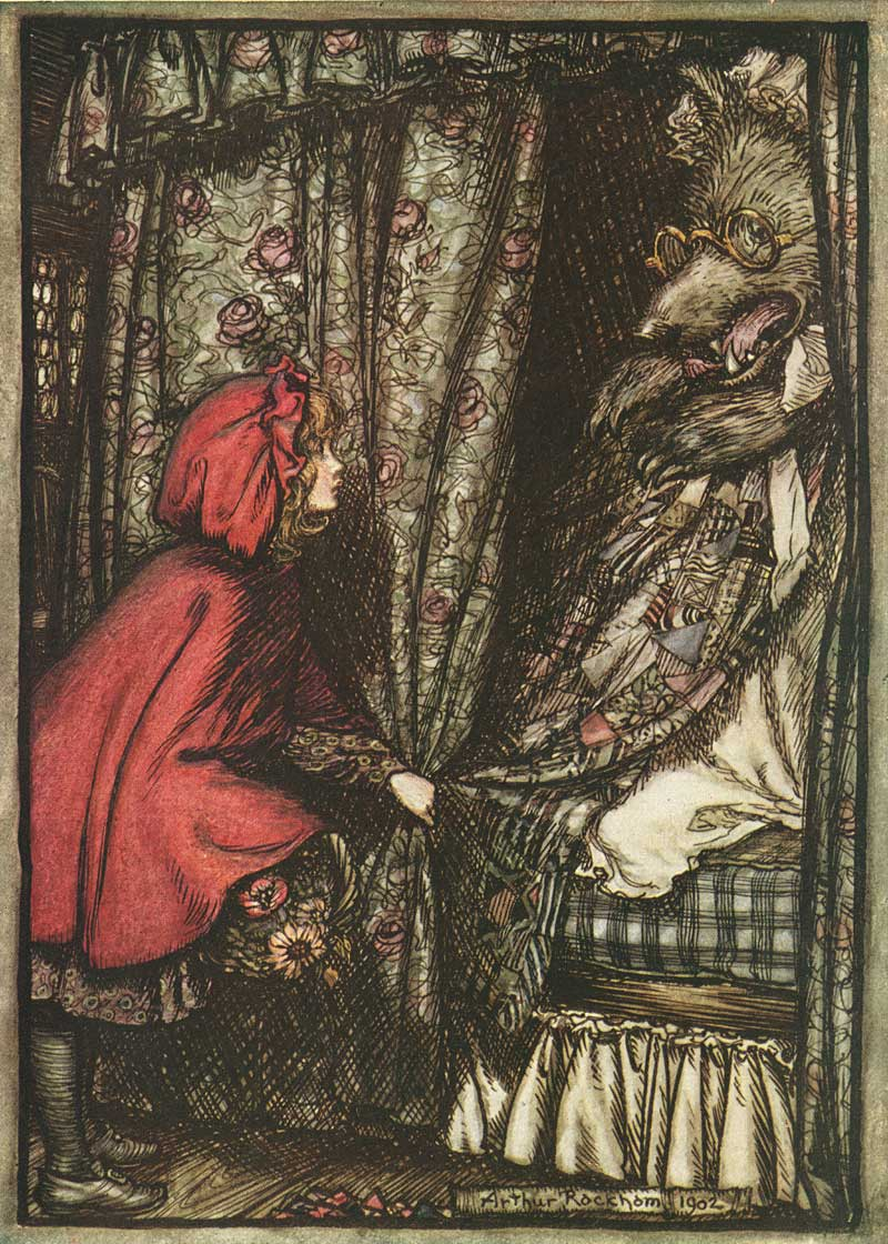 From  The Fairy Tales of the Brothers Grimm.   Grimm, Jacob and Wilhelm.  London: Constable & Company Ltd, 1909. Illustrated by  Arthur Rackham.