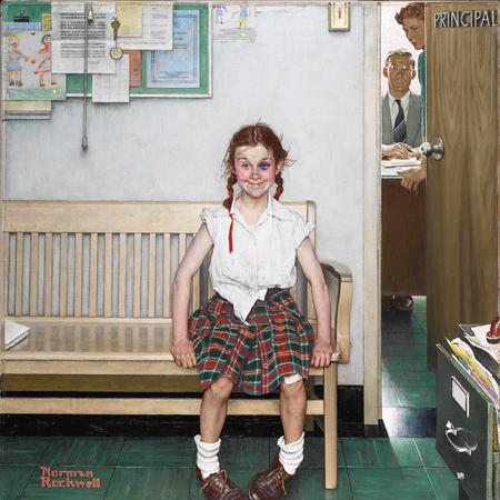 The rolled sleeves, untucked shirt,disheveled skirt, socks and untied shoes all enhance the contrast of this rebellious student within her environment. Notice how the lay of the plaid also breaks up the orderly geometry of the props and staff costumes. Image: The Young Lady With the Shiner (1953, Oil on Canvas, 34″ x 30″) Saturday Evening Post,May 23, 1953. Wadsworth Atheneum Museum of Art, Gift of Kenneth Stuart.