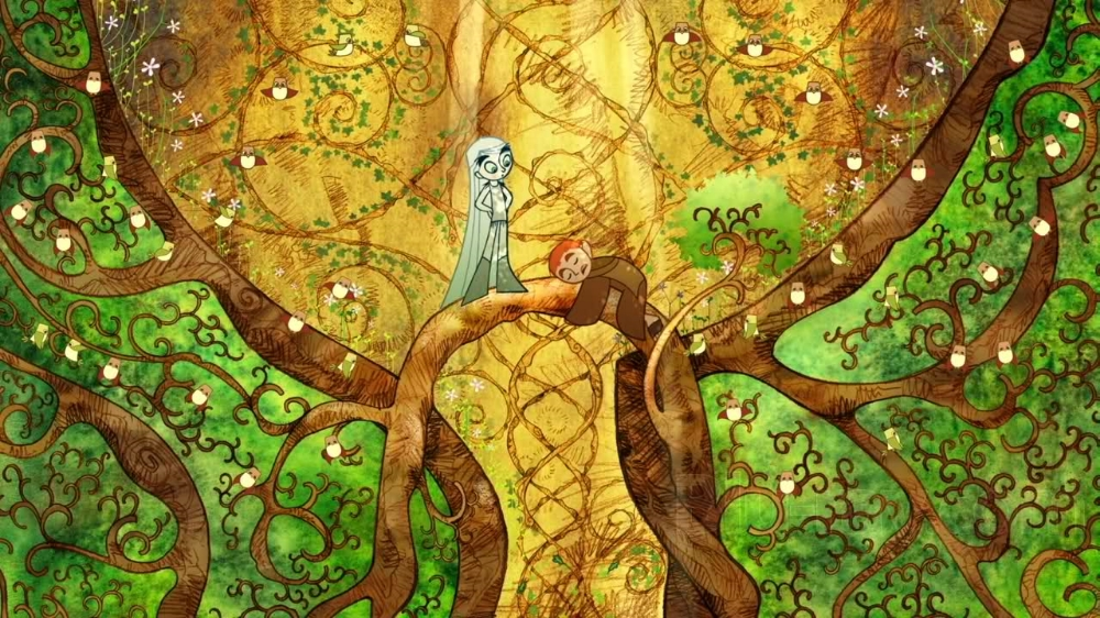 The secret of Kells, 2009.This animation shows a unique level of stylization, it's great to see how creative they were with the simplification of the costumes.
