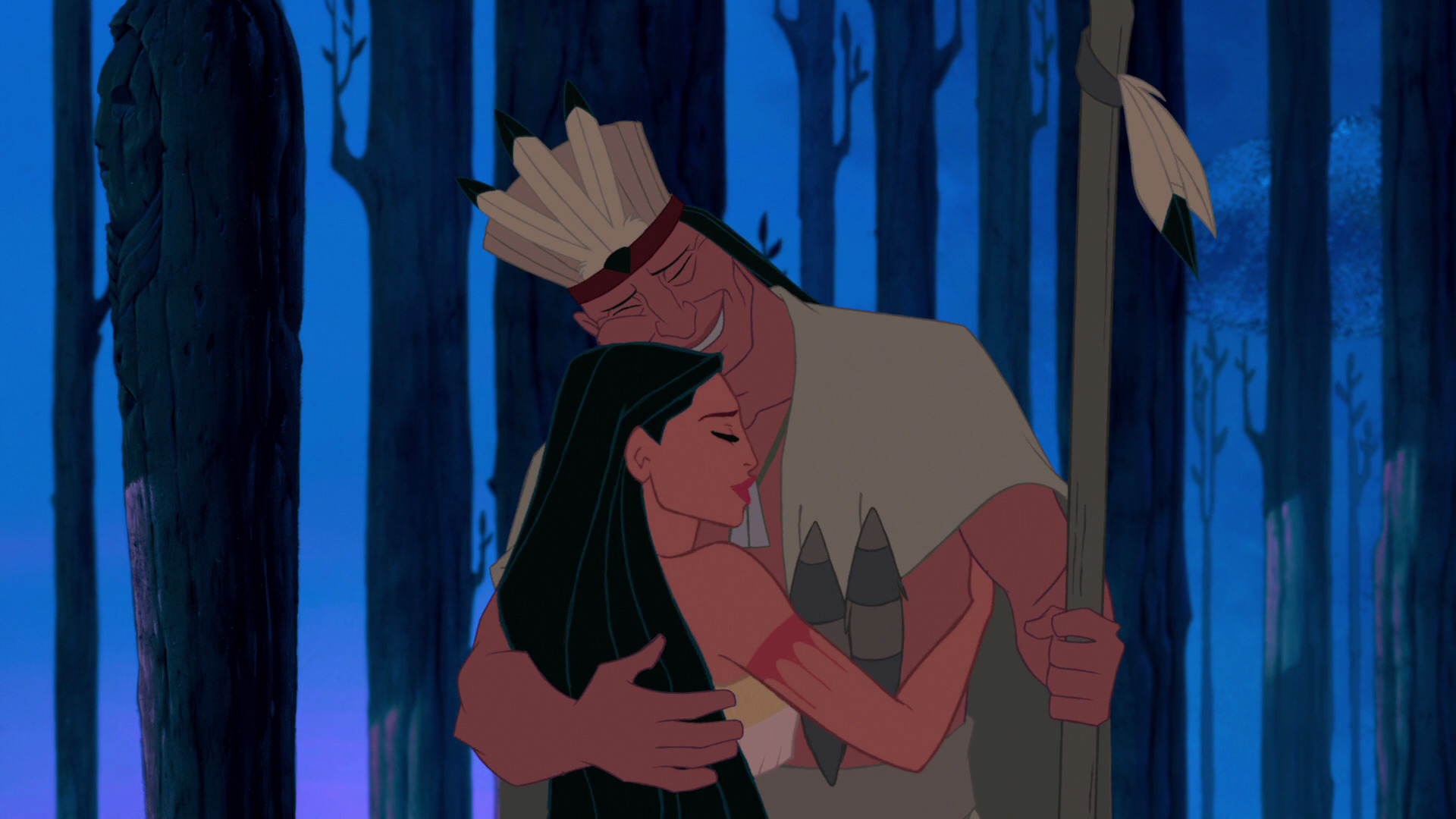 You can see Powhatan wears a feather headdress which represents his role as the chief/leader of his tribe. Pocahontas and her father Powhatan. Disney, 1995.