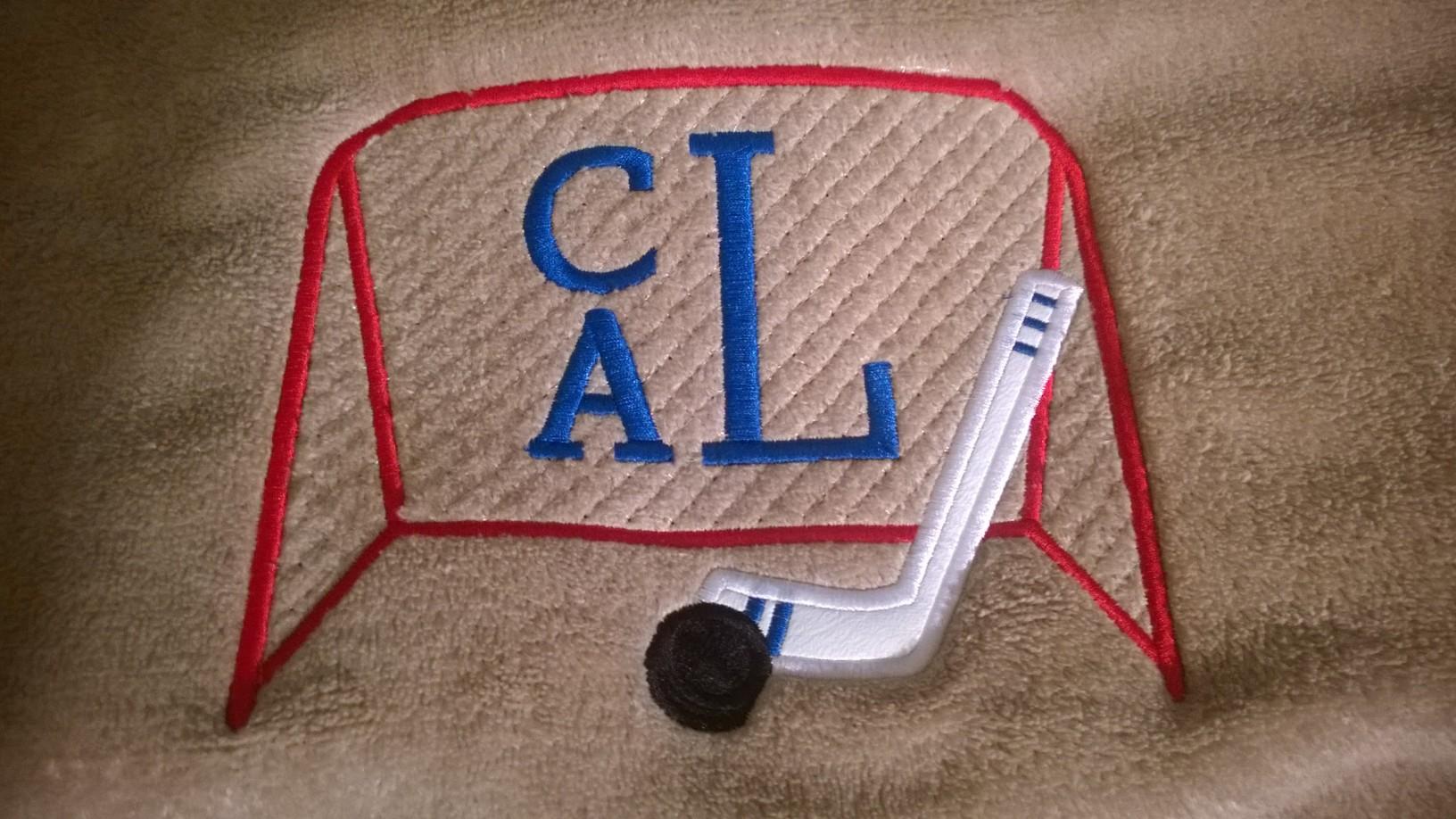 Blanket-hockey monogram