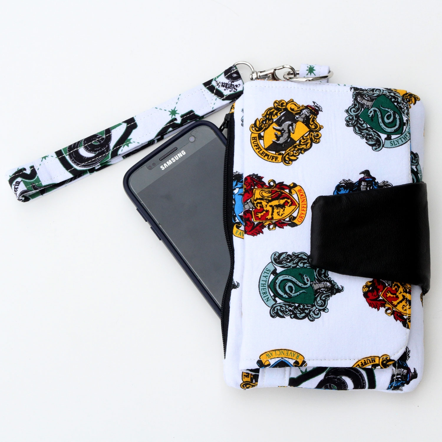 Wallet Clutch Purse with Slytherin Fabric - For all the Slytherin fans, this clutch is perfect. It has an outer zipper pocket and credit card slots inside.(Other options available as well)